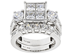 White Cubic Zirconia Rhodium Over Sterling Silver Ring 5.92ctw