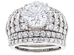 White Cubic Zirconia Rhodium Over Sterling Silver Ring With Band 10.99ctw