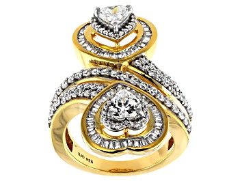Picture of White Cubic Zirconia 18K Yellow Gold Over Sterling Silver Heart Ring 3.81ctw