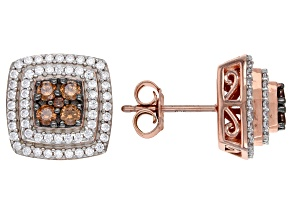 Brown And White Cubic Zirconia 18K Rose Gold Over Sterling Silver Earrings 1.94ctw