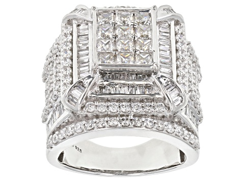 White Cubic Zirconia Rhodium Over Sterling Silver Ring 6.73ctw