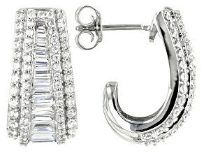 White Cubic Zirconia Rhodium Over Sterling Silver Earrings 3.98ctw