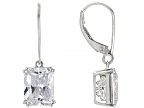 White Cubic Zirconia Rhodium Over Sterling Silver Earrings 11.04ctw