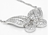 White Cubic Zirconia Rhodium Over Sterling Silver Butterfly Necklace 3.61ctw