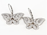 White Cubic Zirconia Rhodium Over Sterling Silver Butterfly Earrings 3.51ctw