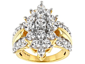 White Cubic Zirconia 18k Yellow Gold Over Sterling Silver Ring 7.77ctw
