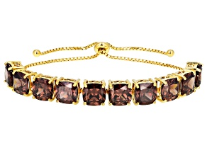 Mocha Cubic Zirconia 18k Yellow Gold Over Silver Adjustable Bracelet 38.71ctw