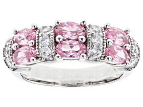 Pink and White Cubic Zirconia Rhodium Over Sterling Silver Ring 2.81ctw