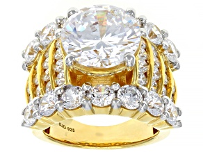 White Cubic Zirconia 18k Yellow Gold Over Sterling Silver Ring 18.55ctw