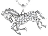 White Cubic Zirconia Rhodium Over Sterling Silver Horse Pendant With Chain 1.28ctw