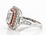 Pink and White Cubic Zirocnia Rhodium Over Sterling Silver Ring 4.30ctw