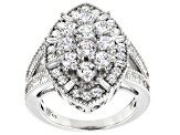 White Cubic Zirconia Rhodium Over Sterling Silver Ring 4.31ctw