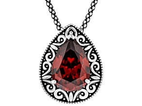 Red Cubic Zirconia Rhodium Over Sterling Silver Pendant With Chain 8.73ctw