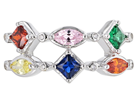 Multicolor Cubic Zirconia Rhodium Over Sterling Silver Ring 1.26ctw