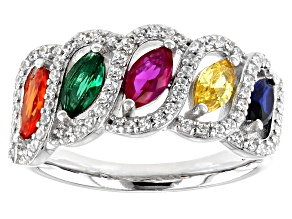 Lab Created Spinel and Ruby, Green Glass, Multicolor Cubic Zirconia Rhodium Over Sterling Ring