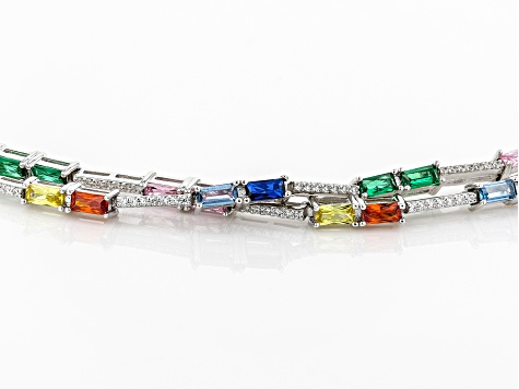 Lab Blue Spinel, Green Nanocrystal, and Multicolor Cubic Zirconia Rhodium Over Sterling Bracelet