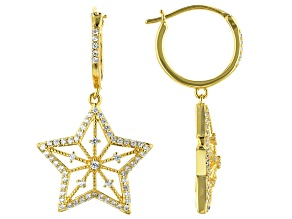 White Cubic Zirconia 18k Yellow Gold Over Sterling Silver Star Earrings 0.94ctw