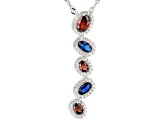 Red, White, and Blue Cubic Zirconia Rhodium Over Sterling Silver Pendant With Chain 2.56ctw