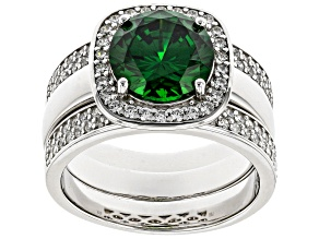 Green and White Cubic Zirconia Rhodium Over Sterling Silver Ring Set 5.95ctw