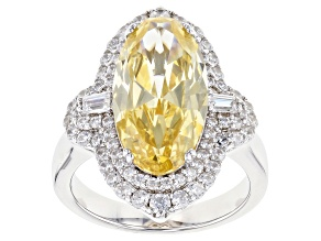 Yellow and White Cubic Zirconia Rhodium Over Sterling Silver Ring 11.72ctw