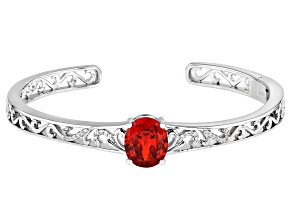Orange and White Cubic Zirconia Rhodium Over Sterling Silver Bracelet 6.66ctw