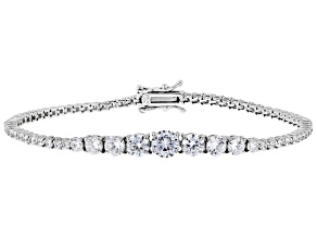 White Cubic Zirconia Rhodium Over Sterling Silver Tennis Bracelet 9.21ctw
