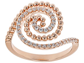 White Cubic Zirconia 18k Rose Gold Over Silver Ring 0.48ctw