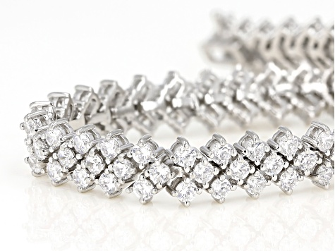 White Cubic Zirconia Rhodium Over Sterling Silver Tennis Bracelet 17.70ctw