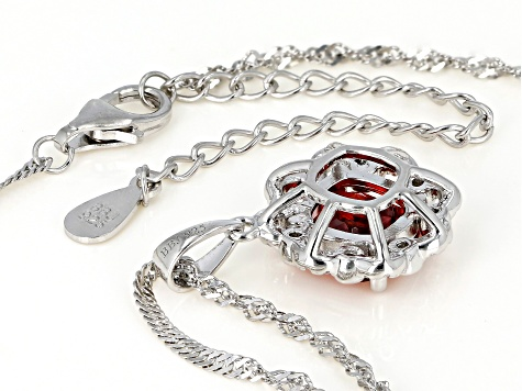 Orange and White Cubic Zirconia Rhodium Over Sterling Silver Pendant With Chain 4.15ctw