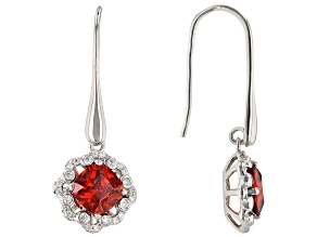 Orange and White Cubic Zirconia Rhodium Over Sterling Silver Earrings 3.76ctw