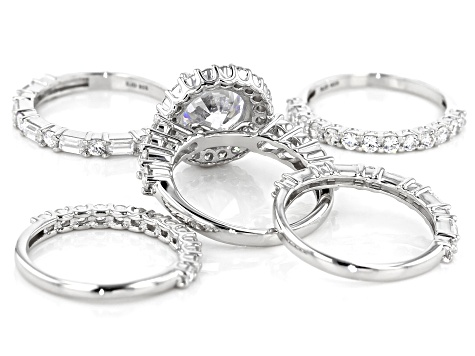 White Cubic Zirconia Rhodium Over Sterling Silver Ring-set of 5 12.73ctw