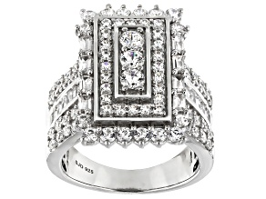 White Cubic Zirconia Rhodium Over Sterling Silver Ring 4.20ctw