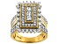 White Cubic Zirconia 18k Yellow Gold Over Sterling Silver Ring 4.20ctw