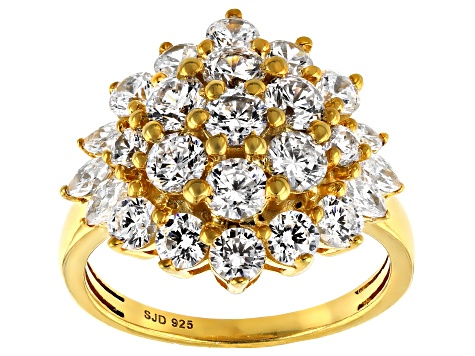 White Cubic Zirconia 18k Yellow Gold Over Sterling Silver Ring 5.05ctw