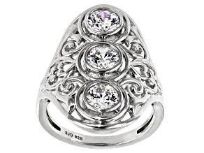White Cubic Zirconia Rhodium Over Sterling Silver 3 Stone Filagree Ring 2.52ctw
