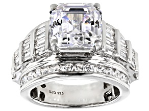 White Cubic Zirconia Asscher Cut Rhodium Over Sterling Silver Ring 12.85ctw