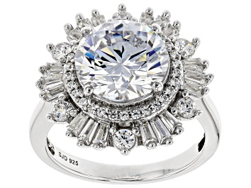 Picture of White Cubic Zirconia Rhodium Over Sterling Silver Ring 7.93ctw