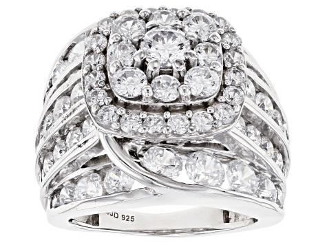 White Cubic Zirconia Rhodium Over Sterling Silver Ring 10 59ctw Bln915 Jtv Com
