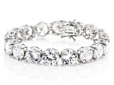 White Cubic Zirconia Rhodium Over Sterling Silver Tennis Bracelet 112.52ctw