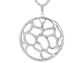 White Cubic Zirconia Rhodium Over Sterling Silver Pendant With Chain 1.27ctw