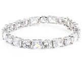 White Cubic Zirconia Rhodium Over Sterling Silver Tennis Bracelet 69.29ctw
