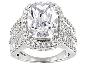 White Cubic Zirconia Rhodium Over Sterling Silver Ring 14.86ctw