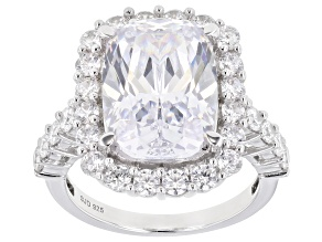 White Cubic Zirconia Rhodium Over Sterling Silver Ring 13.71ctw