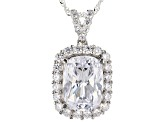 White Cubic Zirconia Rhodium Over Sterling Silver Pendant With Chain 13.21ctw