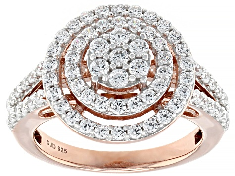 White Cubic Zirconia 18k Rose Gold Over Sterling Silver Ring With Guard 3.47ctw
