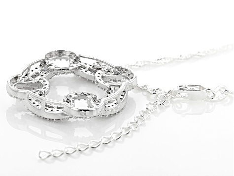 "White Cubic Zirconia Rhodium Over Sterling Silver Pendant With 18"" Chain and 2"" Extender 2.70ctw"