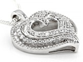 White Cubic Zirconia Rhodium Over Sterling Silver Heart Pendant With Chain 2.00ctw