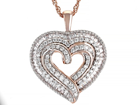 White Cubic Zirconia 18k Rose Gold Over Sterling Silver Heart Pendant With Chain 2.00ctw