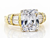 White Cubic Zirconia 18k Yellow Gold Over Sterling Silver Ring 6.86ctw