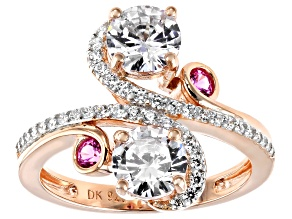 Lab Created Pink Sapphire and White Cubic Zirconia 18k Rose Gold Over Sterling Silver Ring 3.50ctw